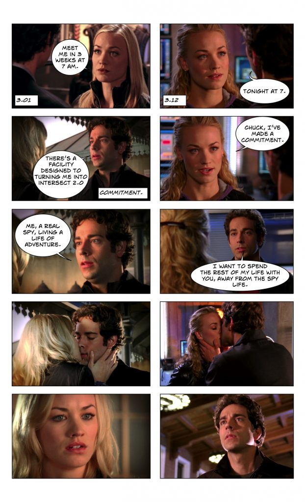 Chuck 3.01 and 3.12 Love Scene Counterpoint