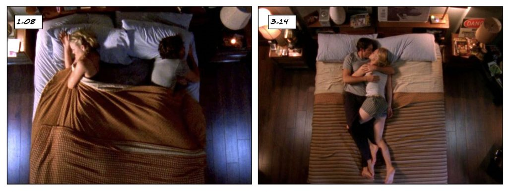 Chuck and Sarah in bed, 1.08 Truth vs 3.14 Honeymooners