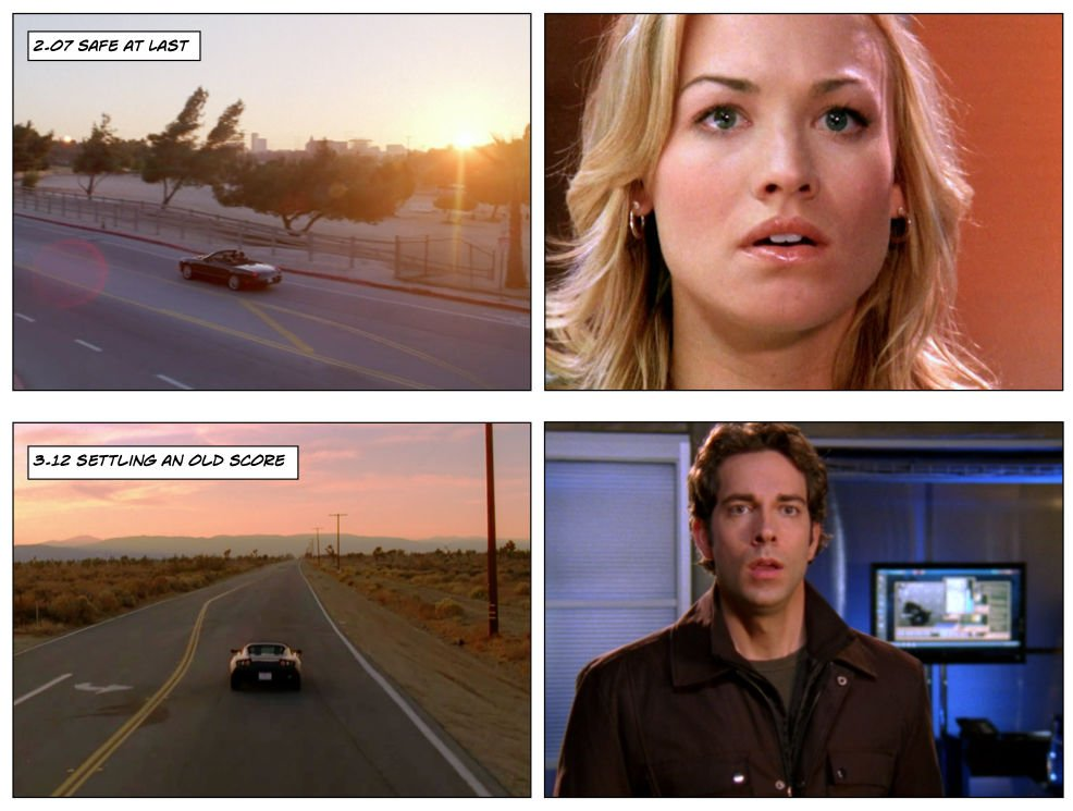 Chuck 2.07 vs 3.12 car scenes