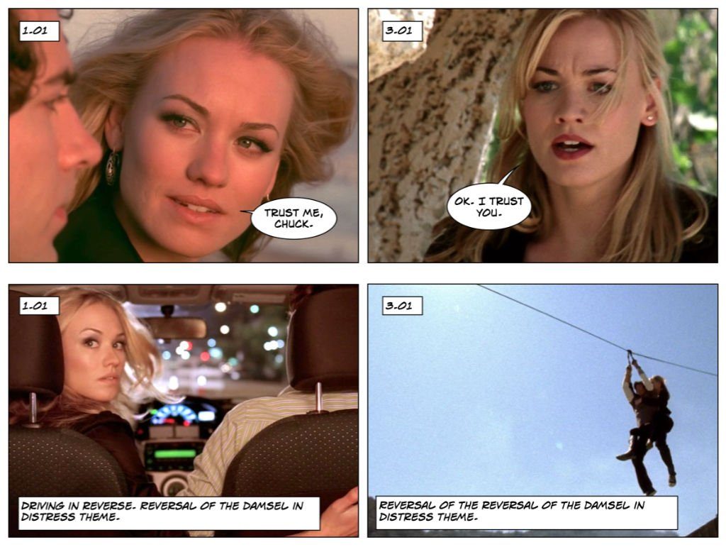 Chuck 1.01 and 3.01 spy role reversals