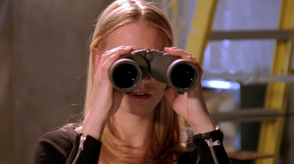 Sarah with binoculars