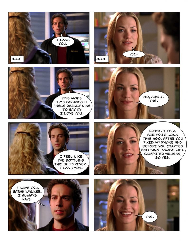 Chuck 3.12 and 3.13 love scene counterpoint