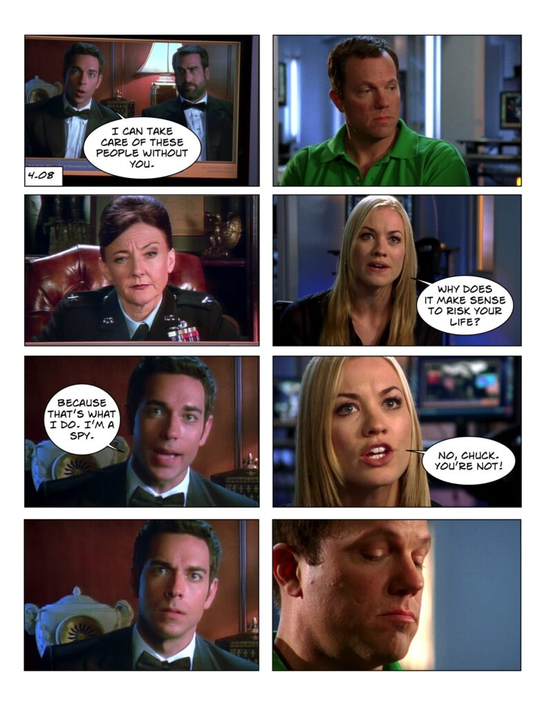 4.08 Sarah admits Chuck is not a spy without the Intersect