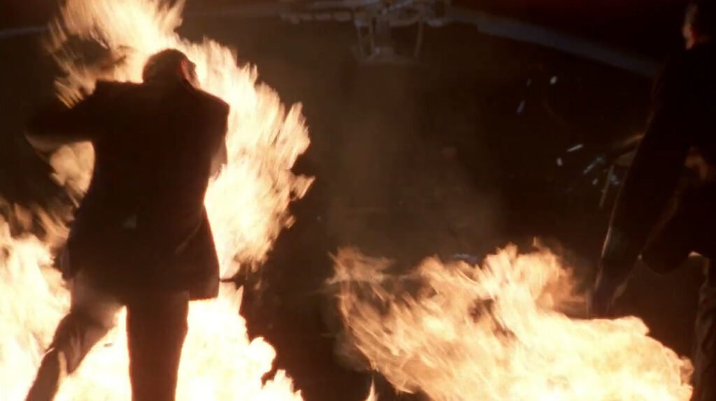 5.03 Chuck jumps through fire to save Morgan's life